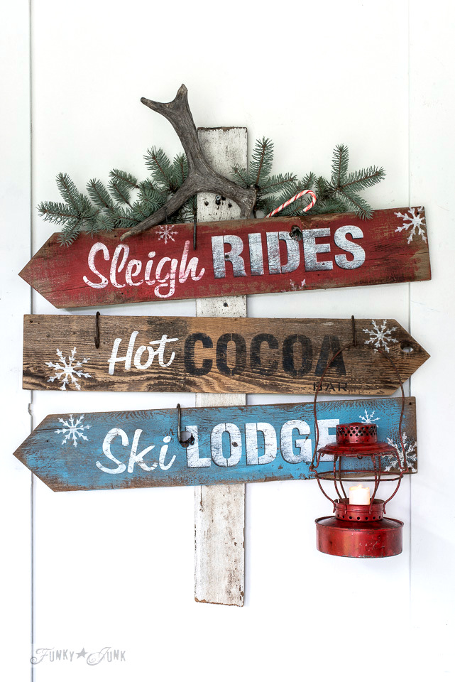 Reclaimed wood winter directional Christmas signs made with Funky Junk's Old Sign Stencils | funkyjunkinteriors.net