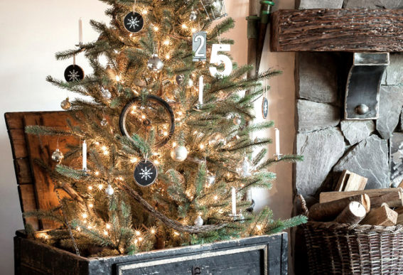 christmas tree in an antiques crate - What To Do With Old Christmas Trees