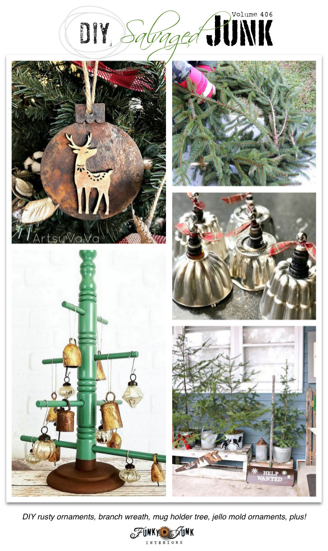 DIY Salvaged Junk Projects 406 - DIY rusty ornaments, branch wreath, mug holder tree, jello mold ornaments, plus! Features with NEW projects on funkyjunkinteriors.net