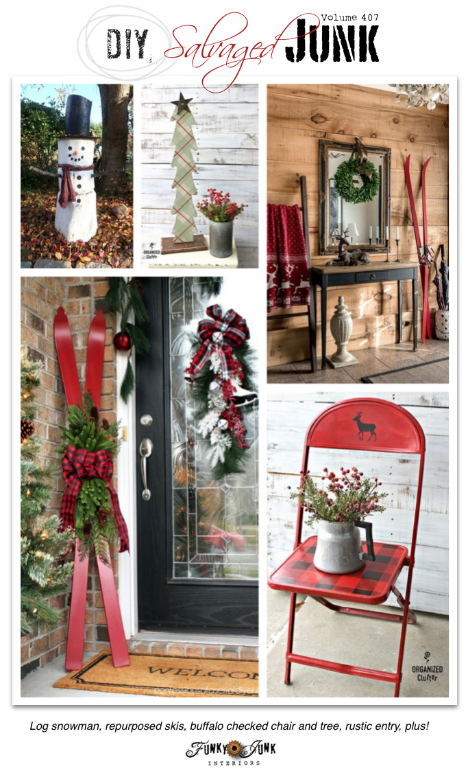 DIY Salvaged Junk Projects 407 - Log snowman, repurposed skis, buffalo checked chair and tree, rustic entry, plus! Features and NEW project tutorials on funkyjunkinteriors.net #christmas #christmasdecor