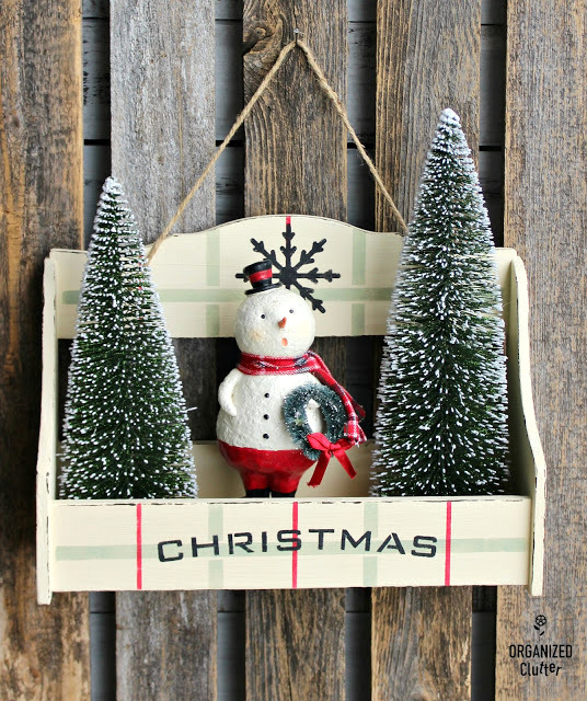 Spice Rack plaid Christmas shelf decor by Organized Clutter, featured on Funky Junk Interiors