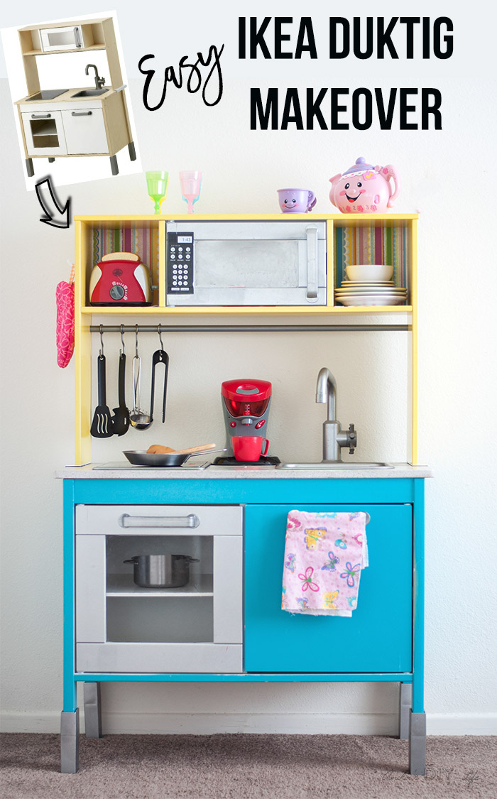 Ikea play kitchen hack by Anika's DIY Life, featured on Funky Junk Interiors