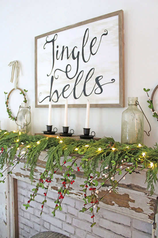 Rustic Christmas mantel by The Honeycomb Home, featured on Funky Junk Interiors