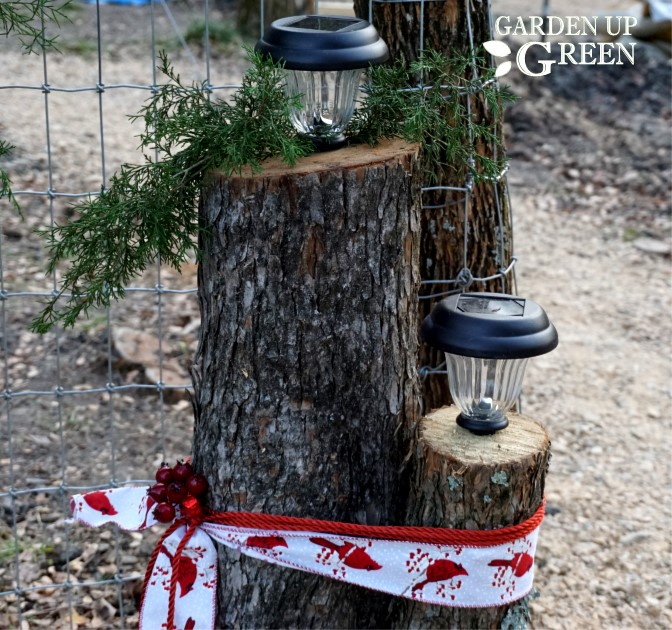 Tree stump solar lights by Garden Up Green, featured on Funky Junk Interiors