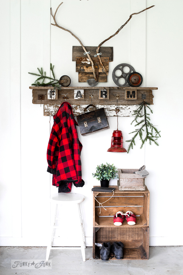 Reclaimed wood deer head with branch antlers, teamed up with a scrap wood coat shelf | funkyjunkinteriors.net