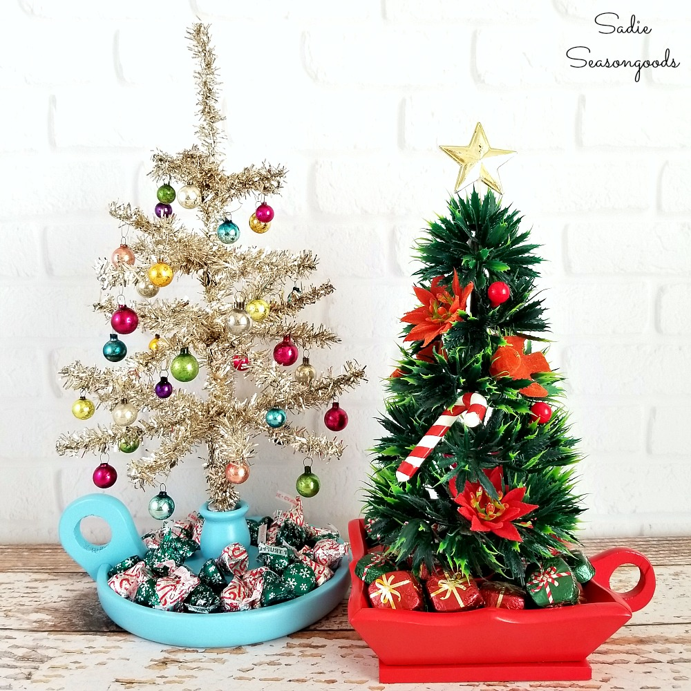 Chamberstick Christmas tree candy dishes by Sadie Seasongoods, featured on Funky Junk Interiors