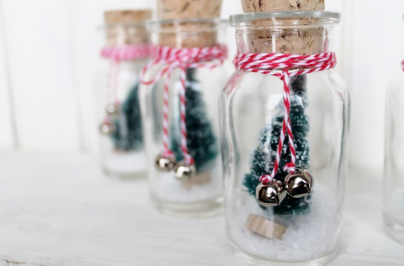 Mini bottle brush Christmas tree and jar ornaments by Adirondack Girl At Heart, featured on Funky Junk Interiors