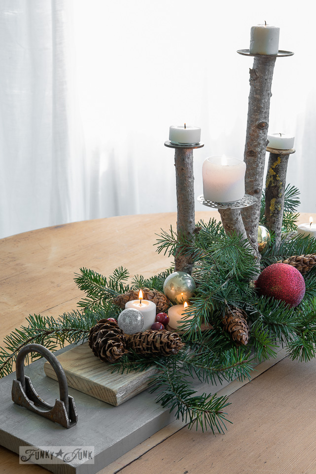 A charming homespun Christmas branch candles vignette made with salvaged wood | funkyjunkinteriors.net