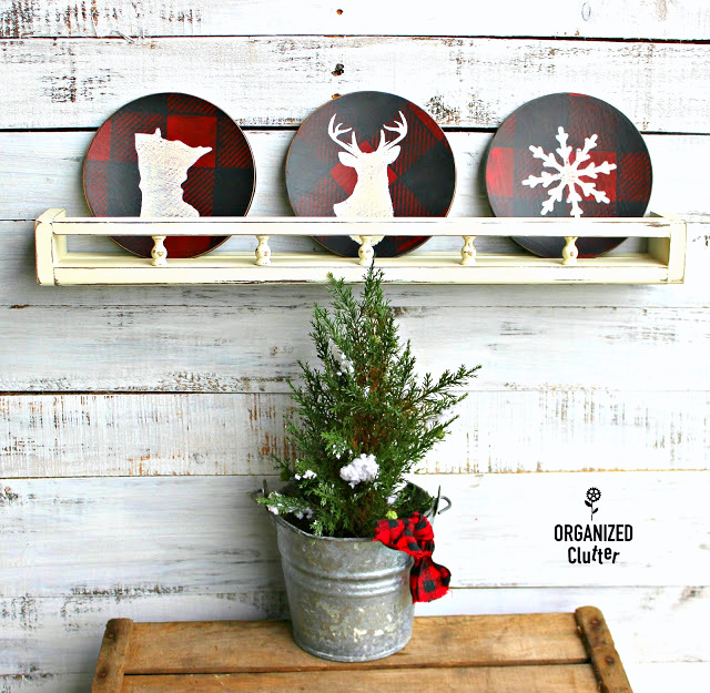 Wooden salad plates turned buffalo checked Christmas decor with stencils by Organized Clutter, featured on Funky Junk Interiors