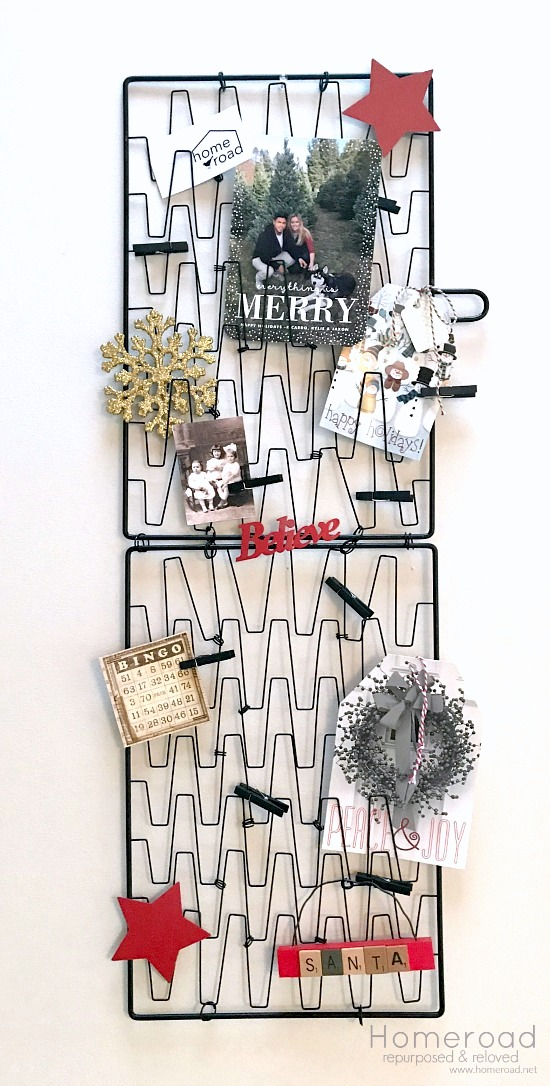 Repurposed fish basket Christmas card holder by Homeroad, featured on Funky Junk Interiors