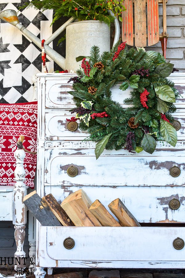 Neglected porch dresser makeover by Hunt and Host, featured on Funky Junk Interiors