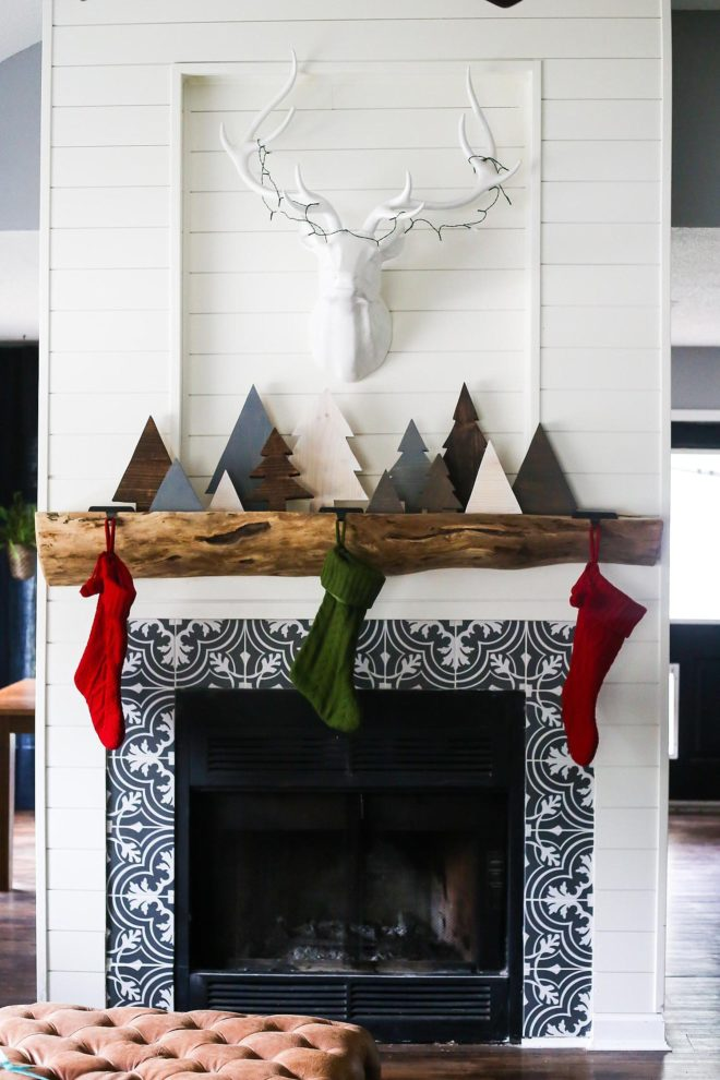 Reclaimed wood Christmas trees on a mantel by Love and Renovations, featured on Funky Junk Interiors