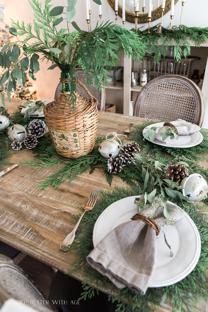 French Christmas dining room with evergreen tablescape by So Much Better With Age, featured on Funky Junk Interiors
