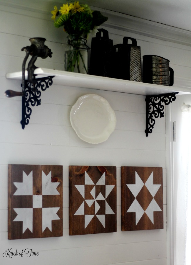 Farmhouse wood quilt squares with stencils by Knick of Time, featured on Funky Junk Interiors