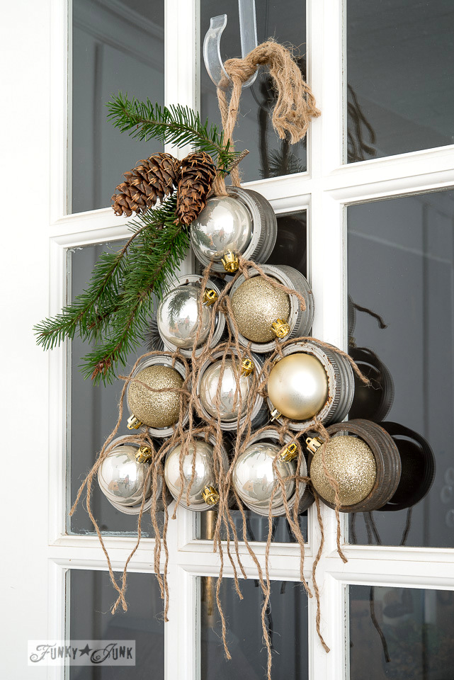 Mason jar rim and ornaments Christmas tree door wreath | funkyjunkinteriors.net