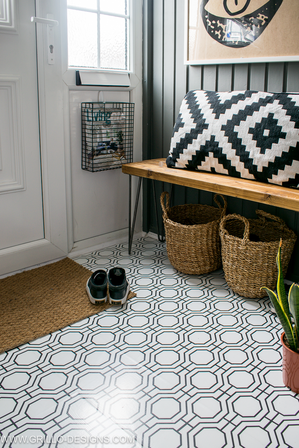 How to wallpaper your floor by Grillo Designs, featured on Funky Junk Interiors