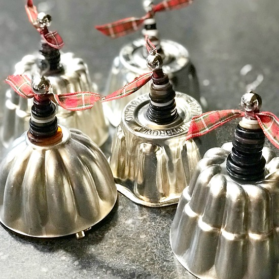 Vintage mold Christmas bells by Homeroad, featured on Funky Junk Interiors