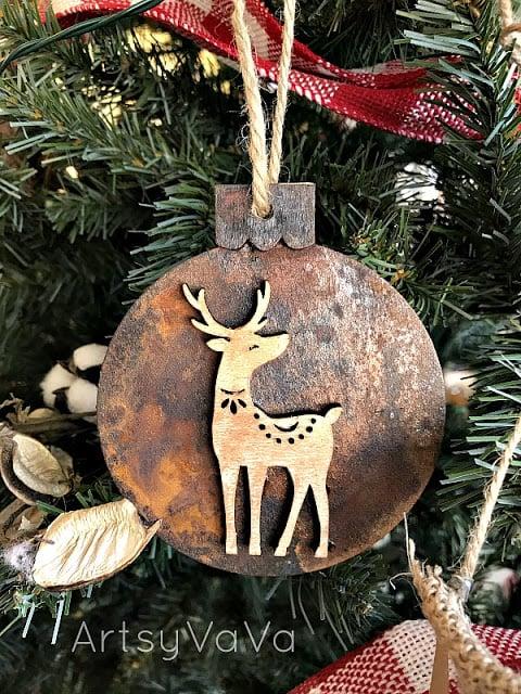 DIY Rusty Christmas ornaments by Artsy Va Va, featured on Funky Junk Interiors