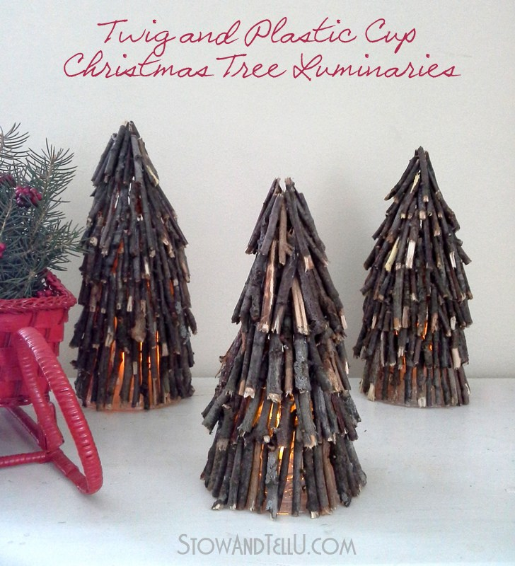 Twig Christmas tree illuminaries by Stow and Tell U, featured on Funky Junk Interiors