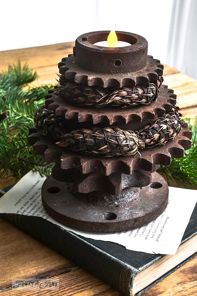 Stacked rusty gear Christmas tree candle votive | funkyjunkinteriors.net