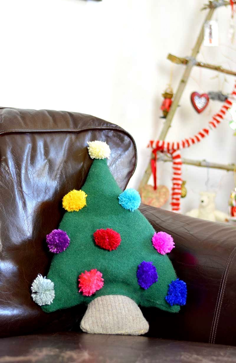 Upcycled sweater Christmas tree pillow by Pillar Box Blue, featured on Funky Junk Interiors