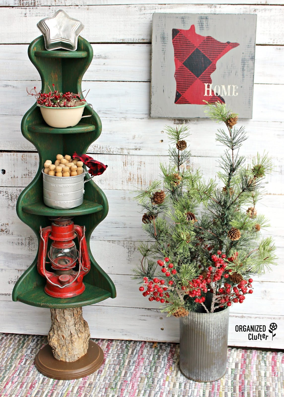 Repurposed wooden corner Christmas tree shelf and buffalo check map by Organized Clutter, featured on Funky Junk Interiors