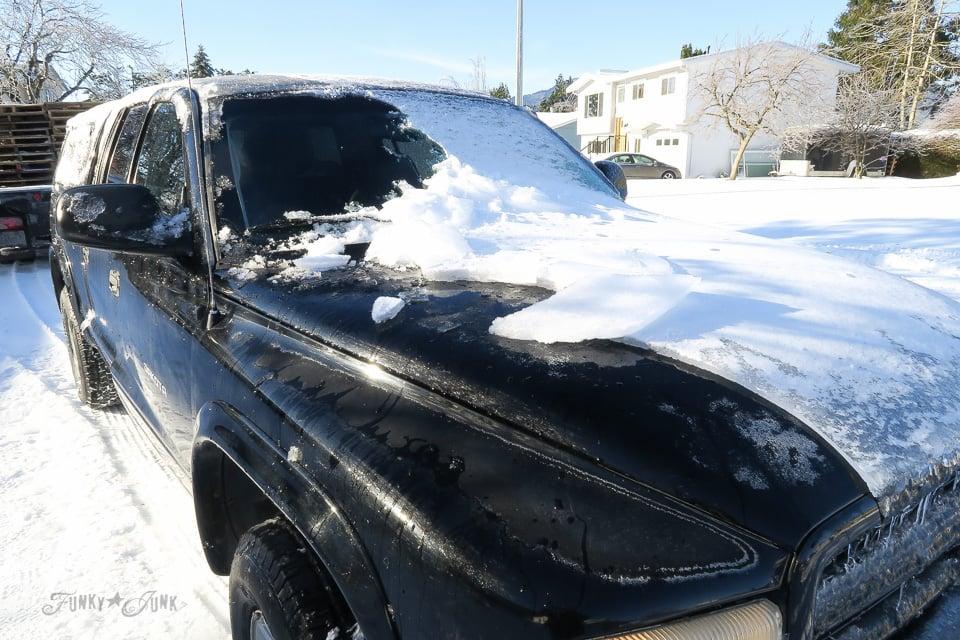 De-icing the struck after an ice storm \ funkyjunkinteriors.net