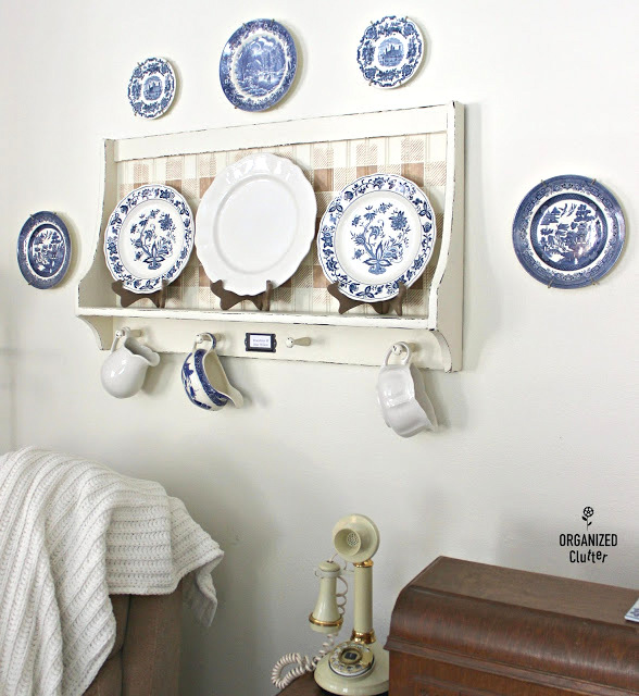 Buffalo Check shaker plate shelf by Organized Clutter, featured on Funky Junk Interiors
