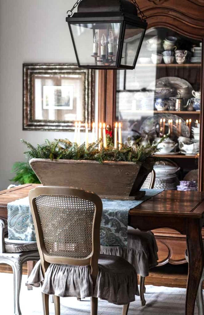Rustic winter or Christmas candle and branch centrepiece by Cedar Hill Farmhouse , featured on Funky Junk Interiors