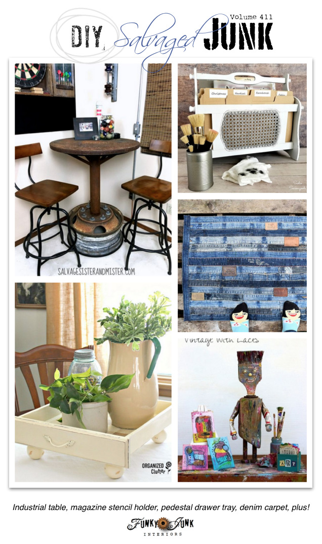 DIY Salvaged Junk Projects 411 - Industrial table, magazine stencil holder, pedestal drawer tray, denim carpet, plus! Features and NEW junk projects on funkyjunkinteriors.net