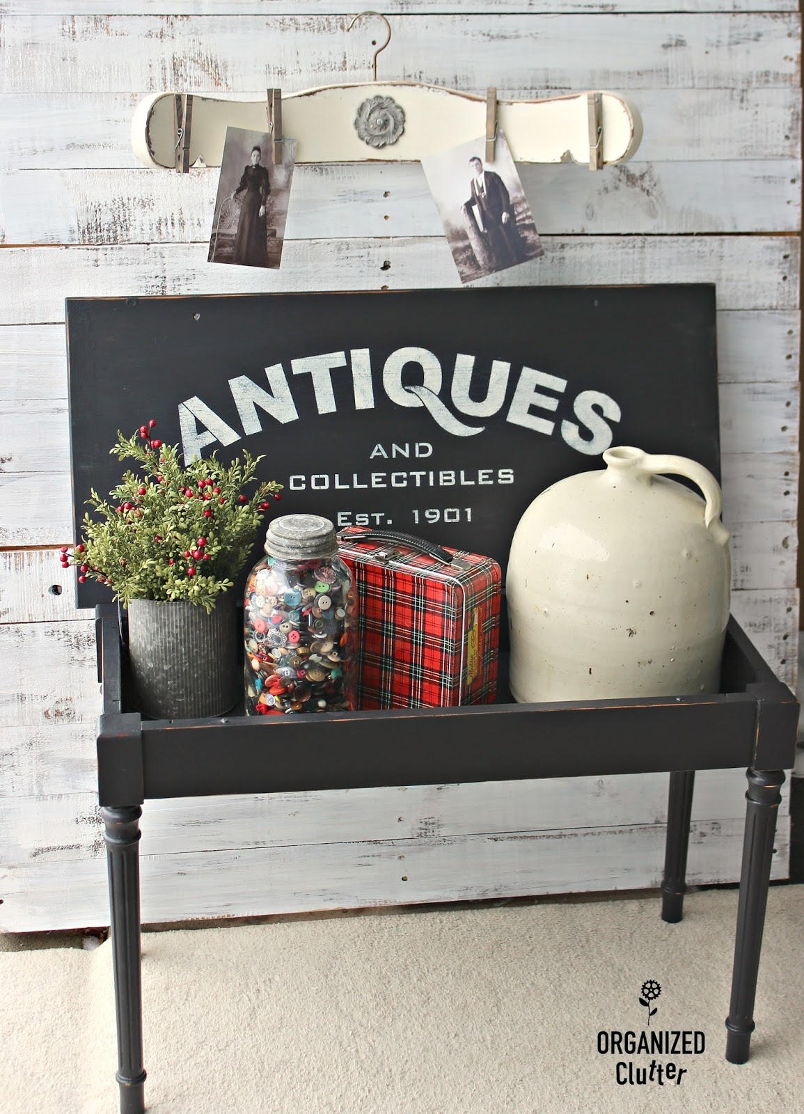 Buffalo check and Antiques stenciled piano bench table and Antiques display for collectibles by Organized Clutter, featured on Funky Junk Interiors
