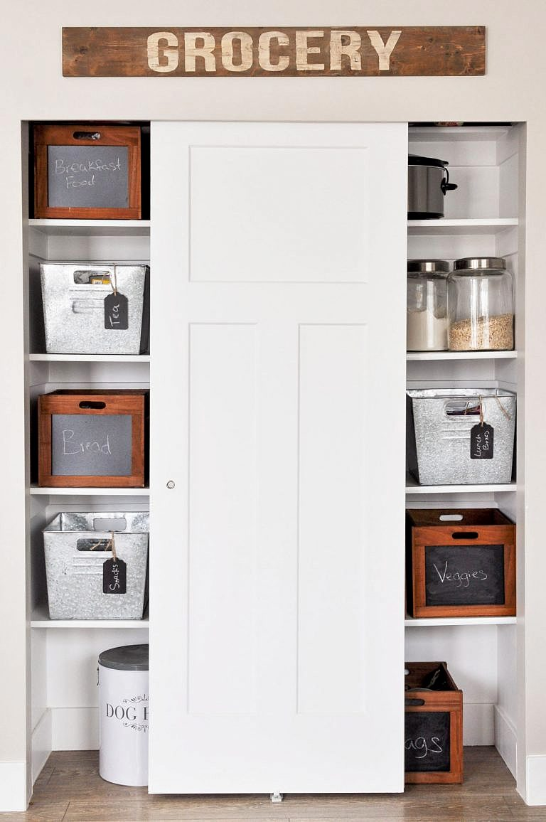 Pantry crates and bins by Cherished Bliss, featured on Funky Junk Interiors