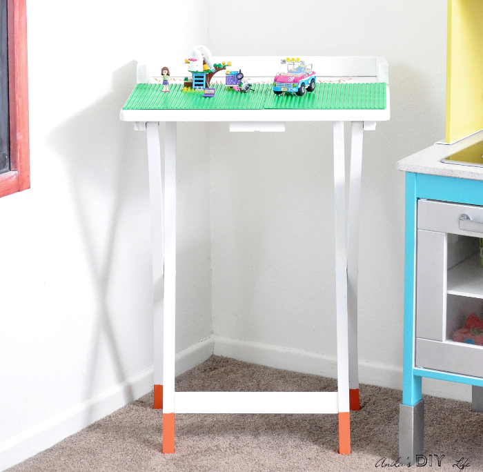 Portable TV tray Lego table by Anika's DIY Life, featured on Funky Junk Interiors