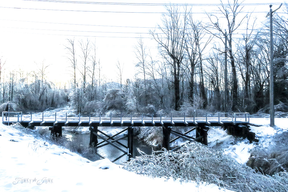 Vedder River Rotary Trail train bridge in the snow in Chilliwack BC Canada