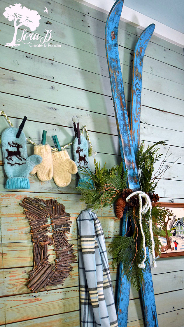 Repainted vintage ski winter decor by Lora B, featured on Funky Junk Interiors
