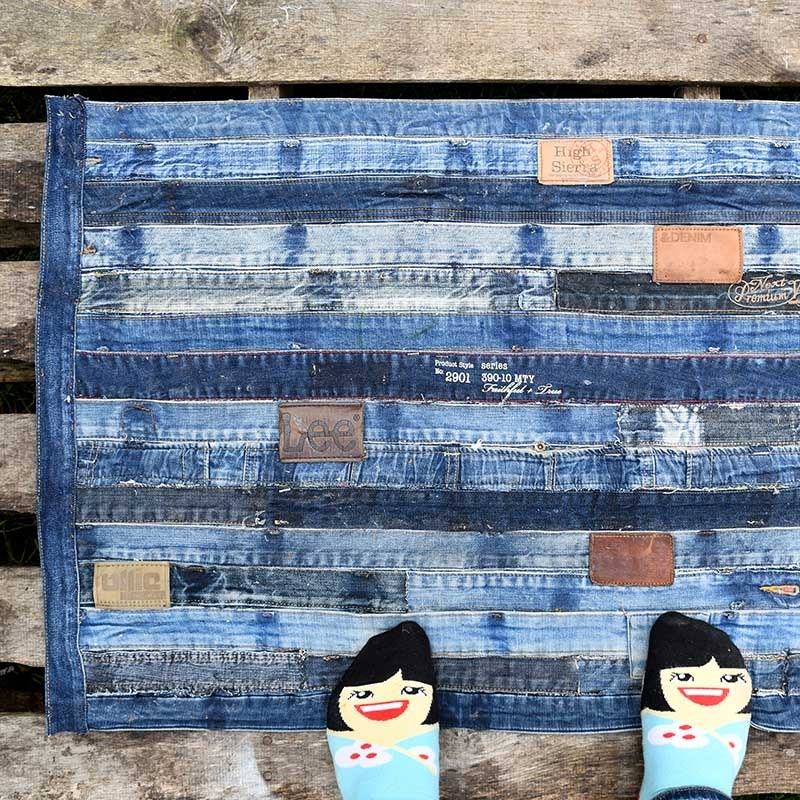 Denim waistbands turned rug by Pillar Box Blue, featured on Funky Junk Interiors