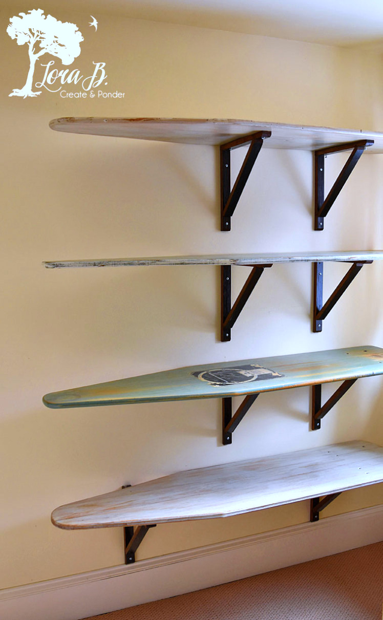 Vintage ironing board shelves by Lora B, featured on Funky Junk Interiors