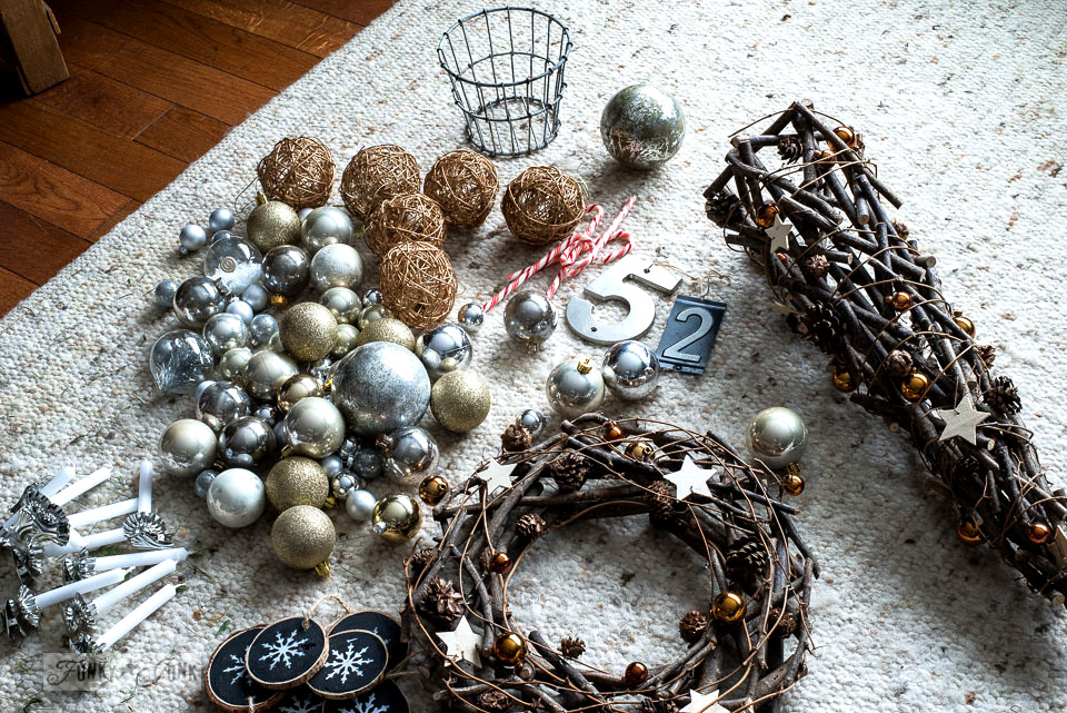 Taking down the neutral Christmas ornaments and twig wreath and tree. Part of Rustic winter decorating with black, white and wood. Full tour on funkyjunkinteriors.net