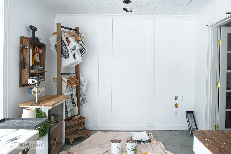 Repainting a board and batten photo studio white wall | funkyjunkinteriors.net