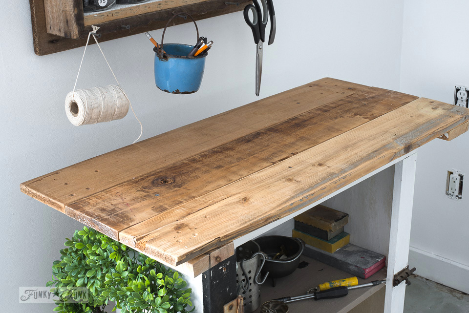 reclaimed wood top on an old cupboard | funkyjunkinteriors.net