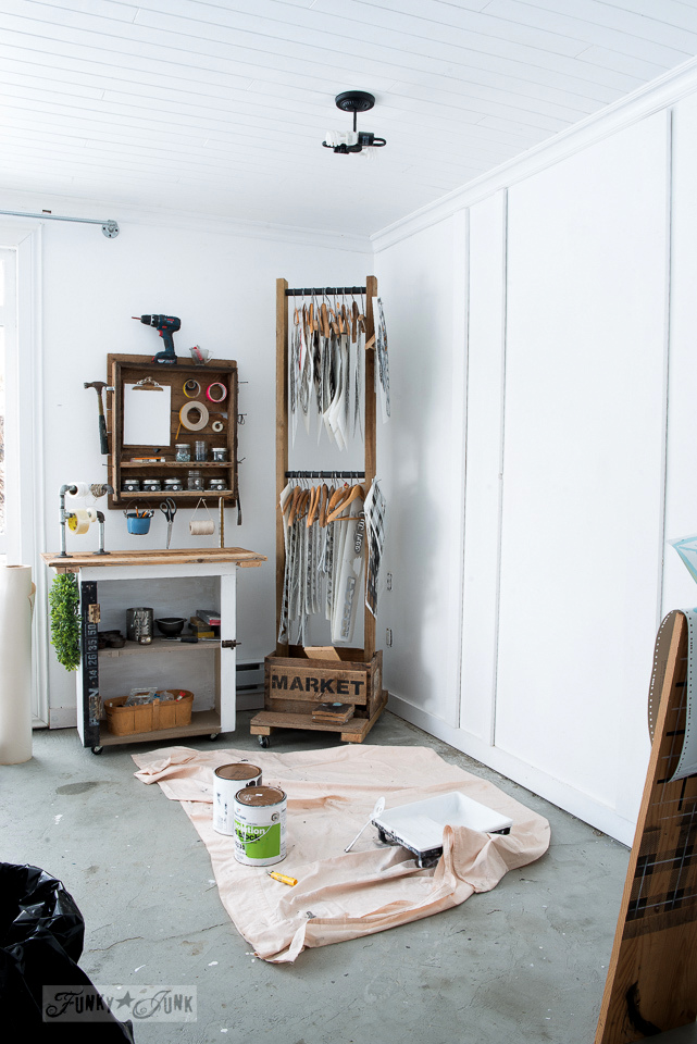 White board and batten photo studio with reclaimed wood craft and tool storage | funkyjunkinteriors.net