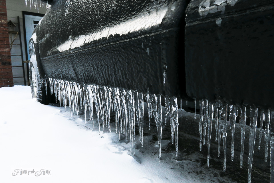 Iced over truck during an ice storm in BC Canada \ funkyjunkinteriors.net