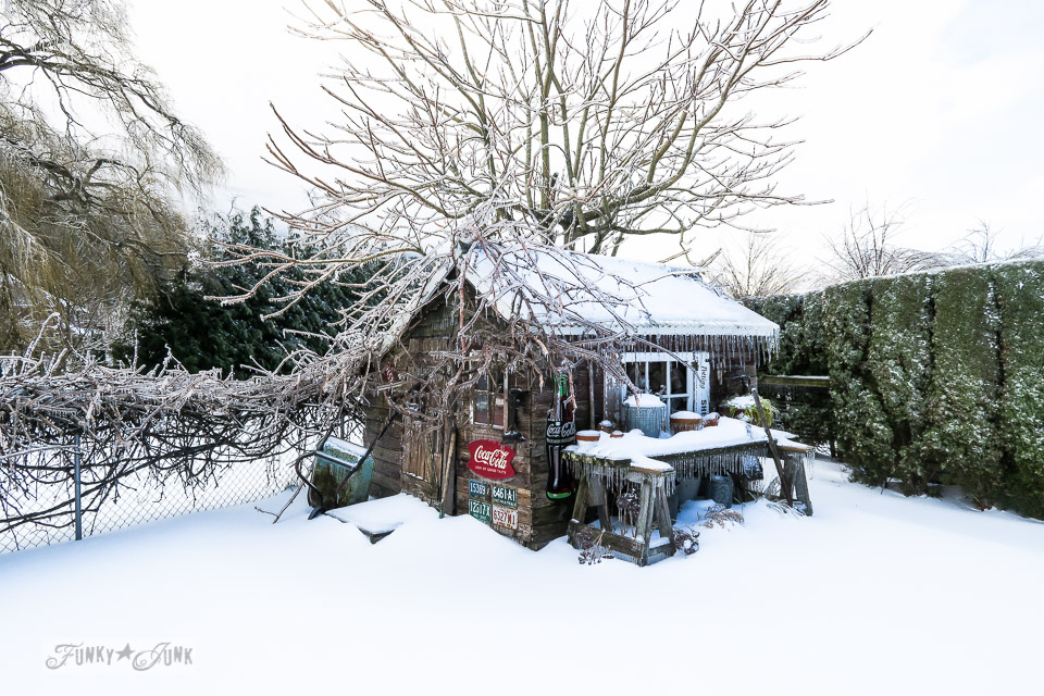 Ice storm on a rustic shed in a snowy back yard in BC Canada \ funkyjunkinteriors.net
