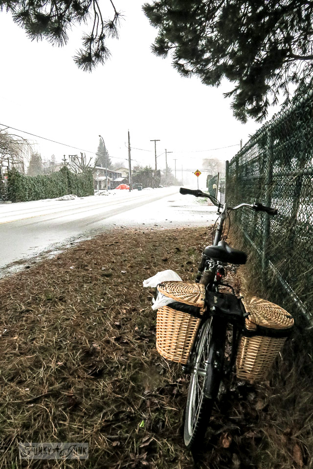 Riding a bike during a snowfall in BC Canada
