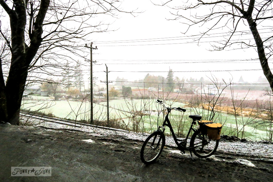 A winter bike ride in the snow with a view of Yarrow from on top of Majuba Hill in BC Canada