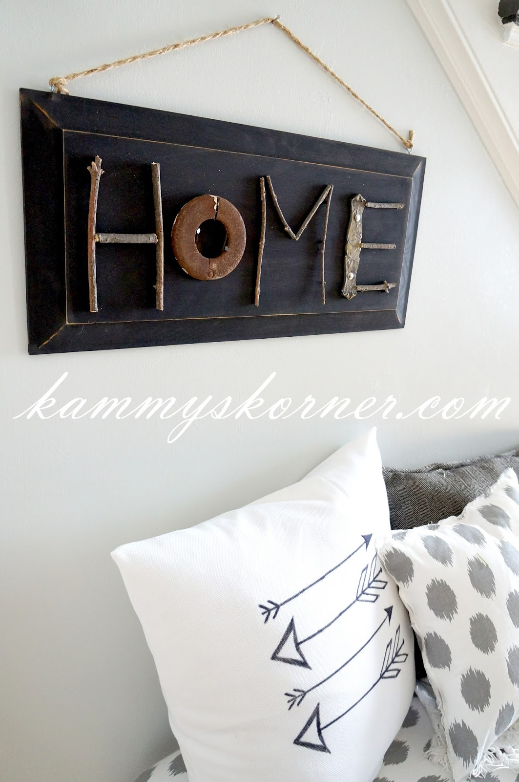 Junk and stick HOME sign by Kammy's Korner, featured on Funky Junk Interiors