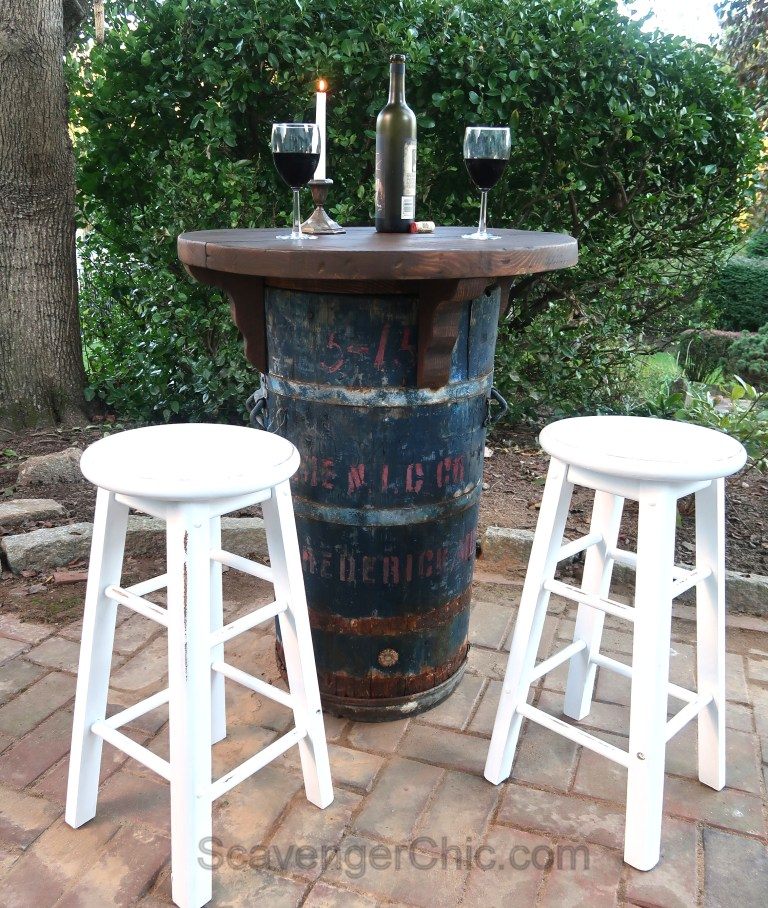 Up-cycled barrel bistro table by Scavenger Chic, featured on Funky Junk Interiors