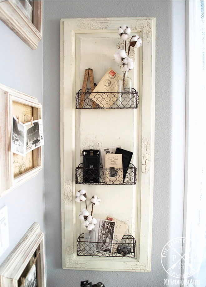 Cabinet door wire basket shelf by The Painted Hinge, featured on Funky Junk Interiors