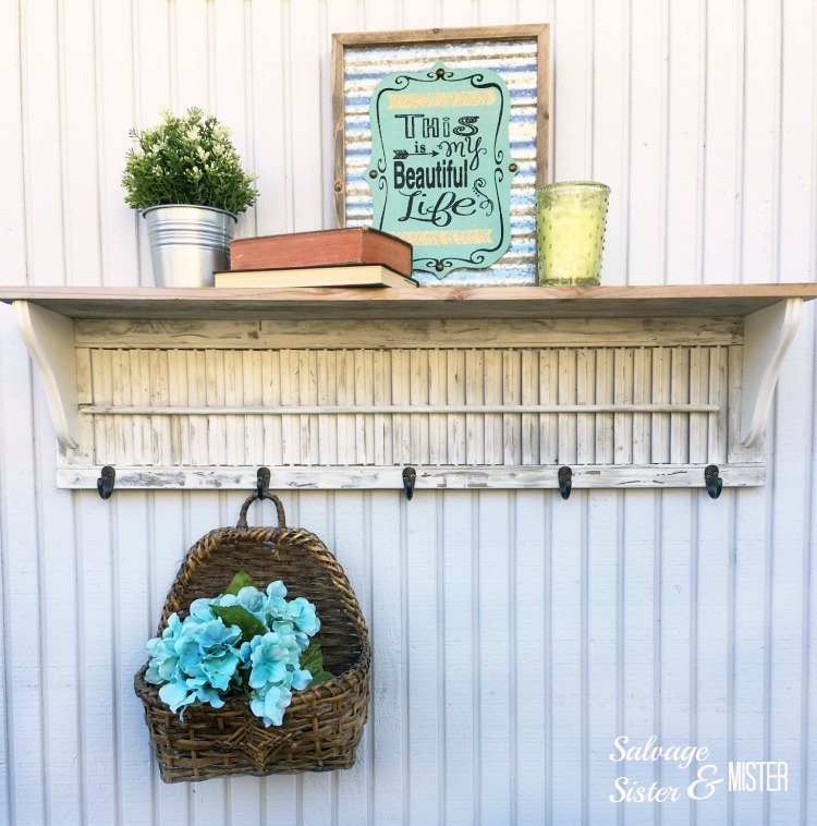 DIY shutter shelf by Salvage Sister and Mister, featured on Funky Junk Interiors