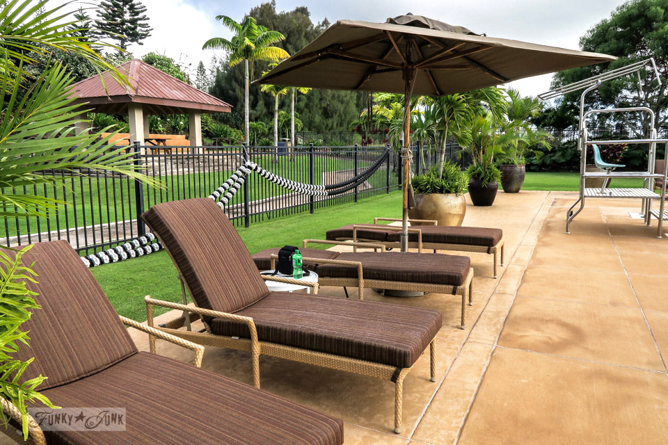 Lana'i City tropical community pool in Lana'i Hawaii